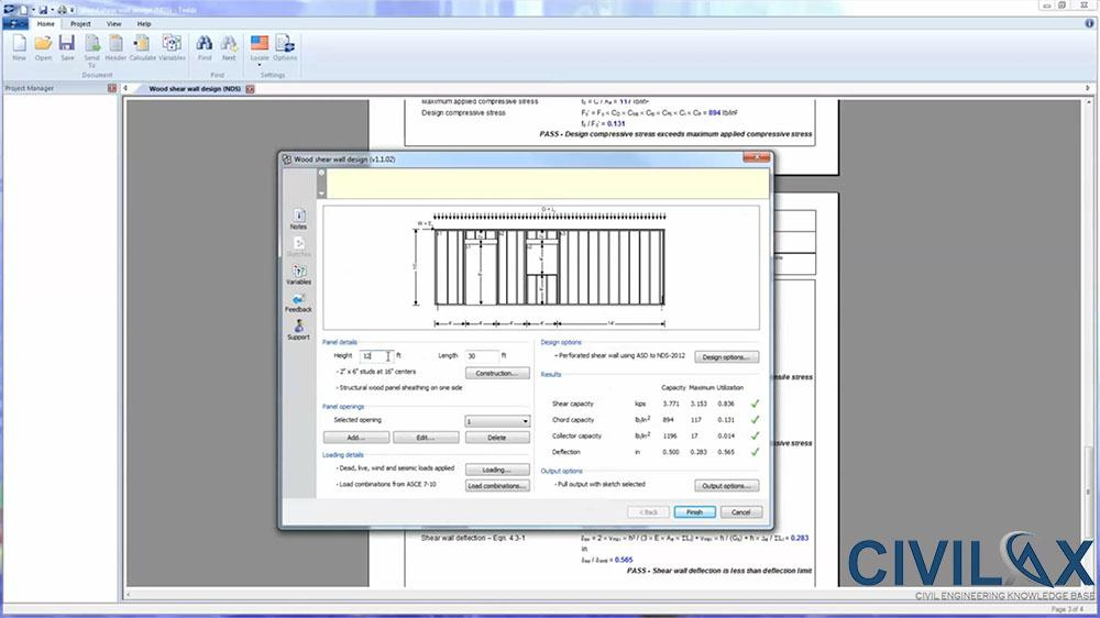 Wood Shear Wall Design In Tekla Tedds Civil Engineering