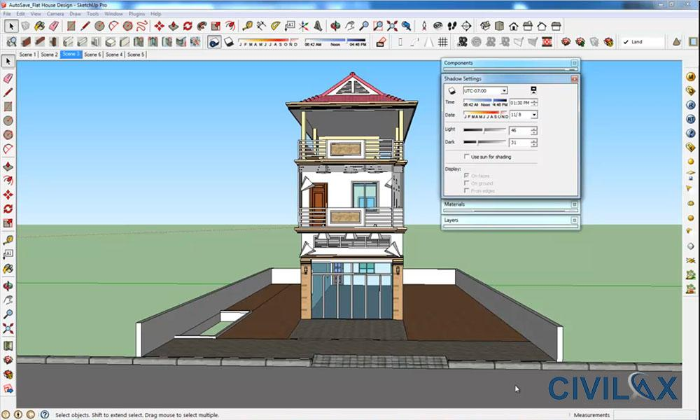 Flat house design and render using google sketchup civil for Google house plans
