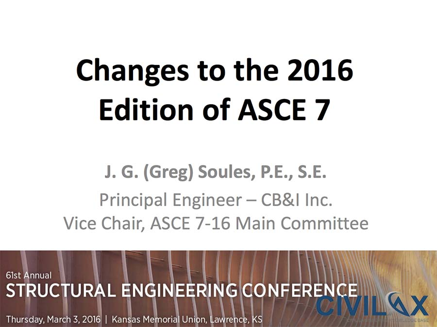 Changes to the 2016 Edition of ASCE 7 (ASCE 7-16)
